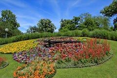 Berühmte Blumenuhr, Genf, die Schweiz Lizenzfreies Stockbild
