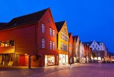 Berühmte Bryggen-Straße in Bergen - Norwegen Lizenzfreie Stockfotos