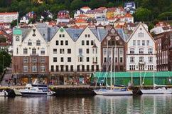 Berühmte Bryggen-Straße in Bergen - Norwegen Stockfotografie