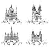 Berühmte europäische Gebäude Hand gezeichnetes Skizzenmarksteine collectio Lizenzfreie Stockfotos