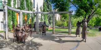 Berühmte fünf fünf Statue, Calgary Lizenzfreies Stockfoto