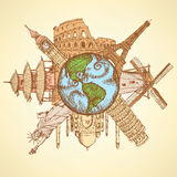 Berühmte Gebäude der Skizze um Planet Erde Stockfotos