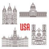 Berühmte Gebäudesymbole und Ikonen von US lizenzfreie abbildung