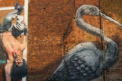 Berühmte Graffiti arbeiten an den Straßen von Ost-London, England Stockfotografie