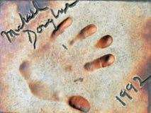 Berühmte Hand gedruckt auf einem Boden stockfotografie