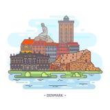 Berühmte historische Monumente von Dänemark grenzsteine lizenzfreie abbildung