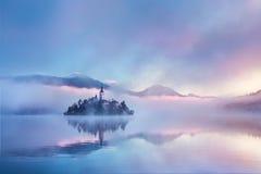 Berühmte Insel mit alter Kirche in der Stadt von Bled Stockbilder