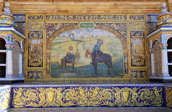 Berühmte keramische Dekoration in Plaza de Espana, Sevilla, Spanien Alter Grenzstein Stockfotografie
