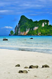 Berühmte Klippe auf Bucht Loh Dalum in Phi Phi-Insel, Thailand lizenzfreie stockfotografie