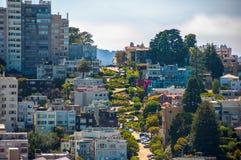 Berühmte Lombard-Straße, San Francisco, Kalifornien, USA Lizenzfreies Stockfoto