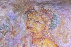 Berühmte Malereien im royalk Palast an sigiriya Felsen stockbilder