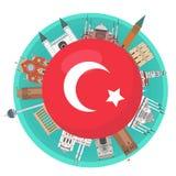 Berühmte Marksteine des Türkischen um die Flagge von der Türkei lizenzfreie stockfotos
