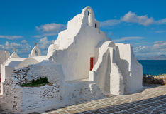 Berühmte Paraportiani Kirche auf Mykonos in Griechenland Lizenzfreies Stockbild