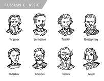Berühmte russische Verfasser, Vektorporträts, Turgenev, Lermontov, Pushkin, Dostoyevsky, Bulgakov, Tschechow, Tolstoy, Gogol Stockfotos