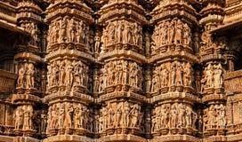 Berühmte Skulpturen von Khajuraho-Tempeln, Indien stockfoto