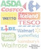 Berühmte Supermarkt-Marken lizenzfreie abbildung