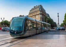 Berühmte Tram auf Straßen von Bordeaux Lizenzfreies Stockbild