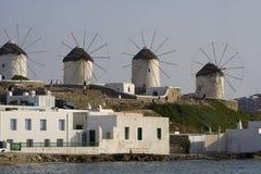 Berühmte Windmühlen von Mykonos Stockfotos
