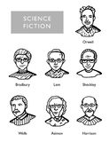 Berühmte Zukunftsromanverfasser, Vektorporträts, Bradbury, Lem, Sheckley, Orwell, Wells Asimov Harrison Stockfotografie