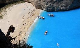 Berühmter europäischer Strand Navagio in Zakynthos-Insel Stockfotos