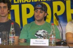 Massimo Bianconcini bei einer Pressekonferenz auf dem Festival des extremen Sports Lizenzfreie Stockbilder