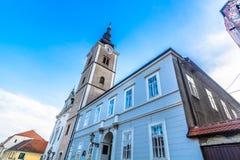 Berühmter Markstein in Krizevci, Kroatien lizenzfreies stockbild