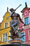 Berühmter Neptun-Brunnen an Quadrat Dlugi Targ Alte Stadt in Gdansk Stockfotografie