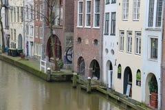 Berühmter Oudegracht-Kanal in der historischen Mitte von Utrecht, das N lizenzfreie stockfotos