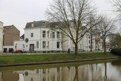 Berühmter Oudegracht-Kanal herein in der historischen Mitte von Utrecht, das Ne stockfoto