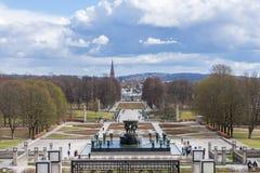Berühmter Park Vigeland in Oslo, der Park bewirtet Skulpturen im bronz lizenzfreies stockfoto