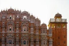 Berühmter Rajasthan-Markstein - Hawa Mahal-Palast Palast der Winde, Jaipur, Indien Stockfotos