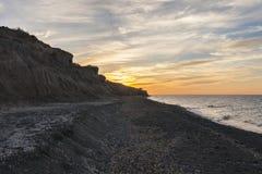 Berühmter schwarzer Strand in Santorini Lizenzfreies Stockfoto
