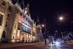 Berühmter Stadtanblick in der Nacht am 26. Dezember 2015 in Rotterdam - den Niederlanden Lizenzfreie Stockfotografie
