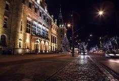 Berühmter Stadtanblick in der Nacht am 26. Dezember 2015 in Rotterdam - den Niederlanden Stockfotografie
