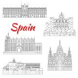 Berühmter touristischer Anblick von Spanien verdünnt Linie Ikone lizenzfreie abbildung