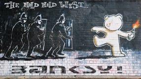 Berühmtes Banksy Stück betitelte milden milden Westen Stockbilder