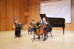 Berühmtes Cellist suli von Xiamen-Universität Trio spielend Lizenzfreie Stockfotos