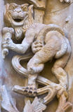 Berühmtes Geschöpf mit Eiscreme schnitzte im Stein; plateresque Artskulptur der neuen Kathedrale von Salamanca, Spanien Lizenzfreies Stockfoto