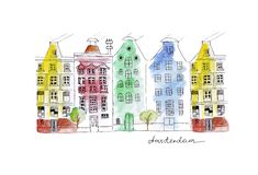 Berühmtes Haus der Illustrationsskizzen-Marksteine auf einer farbigen Straße in Amsterdam stock abbildung