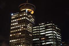 Berühmtes im Stadtzentrum gelegenes Vancouver in der Dämmerung Stockfotografie