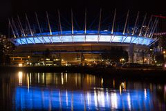 Berühmtes im Stadtzentrum gelegenes Vancouver in der Dämmerung Lizenzfreies Stockbild