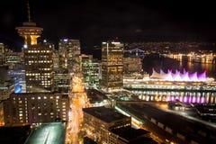 Berühmtes im Stadtzentrum gelegenes Vancouver in der Dämmerung Stockfotos
