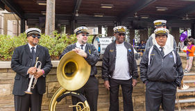 Berühmtes New- Orleansband TREME bei Mardi Gras Block Party Stockbilder