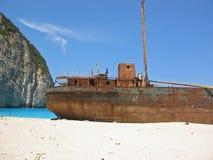 Berühmtes Schiffswrack auf Zakynthos Griechenland Lizenzfreies Stockbild