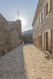 Berühmtes Symbol der alten Festung in Budva Adria Montenegro stockfotografie