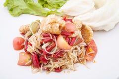 Berühmtes thailändisches Lebensmittel, Papayasalat oder, was wir nannten Stockfotografie