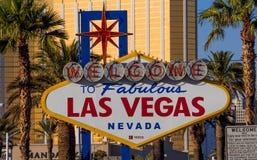 Berühmtes Zeichen - Willkommen nach fabelhaftes Las Vegas - LAS VEGAS - NEVADA - 12. Oktober 2017 Stockfotos
