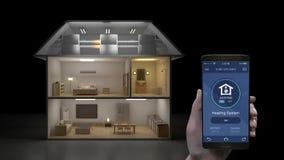 Berühren beweglicher Anwendung IoT, energiesparende Leistungskontrolle des Heizsystems, intelligente Haushaltsgeräte, Internet vo lizenzfreie abbildung