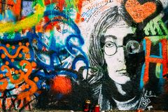 Ber?hmter Platz in Prag - John Lennon Wall, Tschechische Republik stockbild