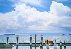 Ber kranen, wijnflessen en grassen op een strandbar Stock Foto